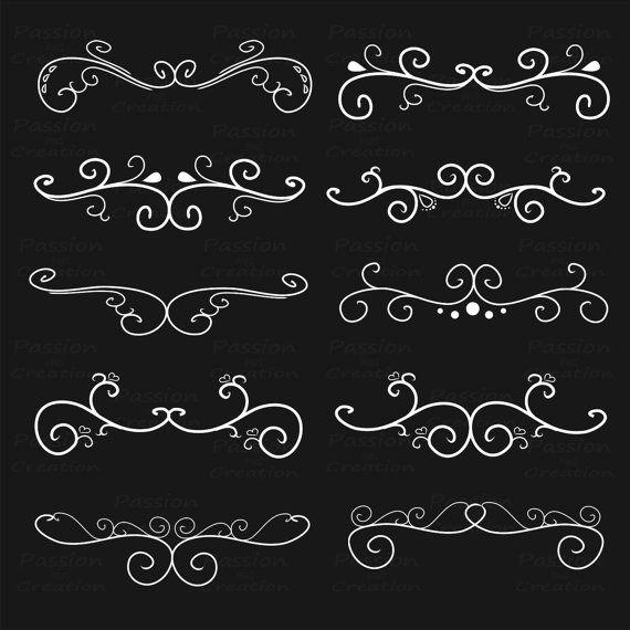White Flourish Swirls Border Calligraphy Decorative Etsy In 2021 Decorative Painting Techniques Calligraphy Borders Swirls