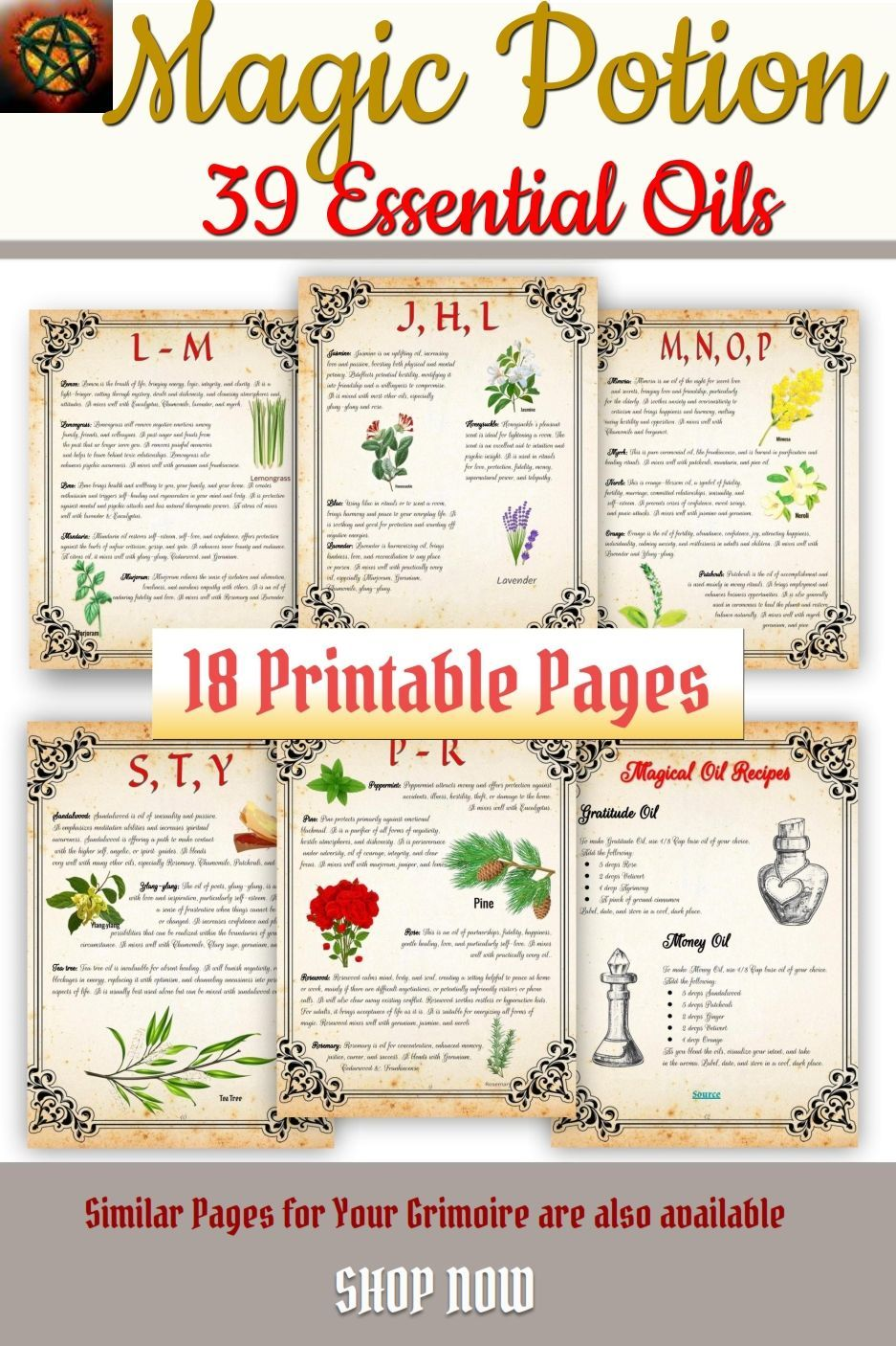 Best Essential Magical Oils PDF Printable Book of Shadows   Etsy ...
