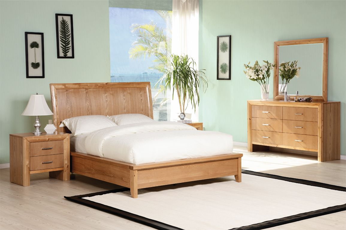 Wood Decorating Ideas For Cool Sky Blue Themed Bedroom With Stunnign Brown Bed Frame That