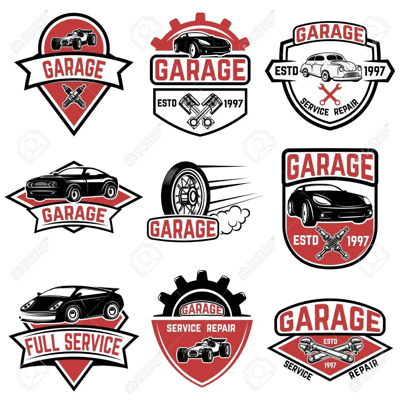 Set Of Vintage Car Service Labels Design Elements For Logo Label Emblem Sign Badge Vector Illustration Illustration Affi Auto Emporio Cerveja Desenhos