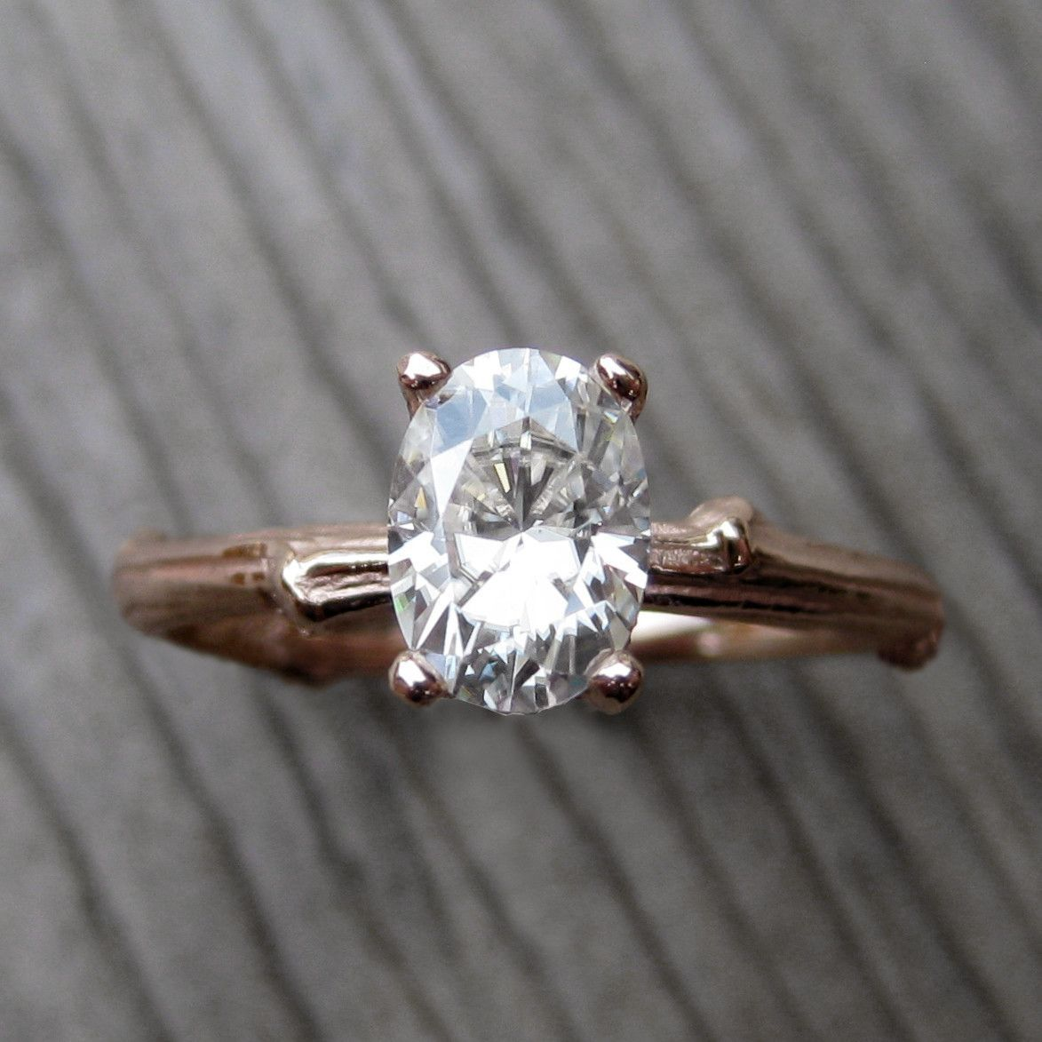 Oval forever brilliant moissanite twig engagement ring carat