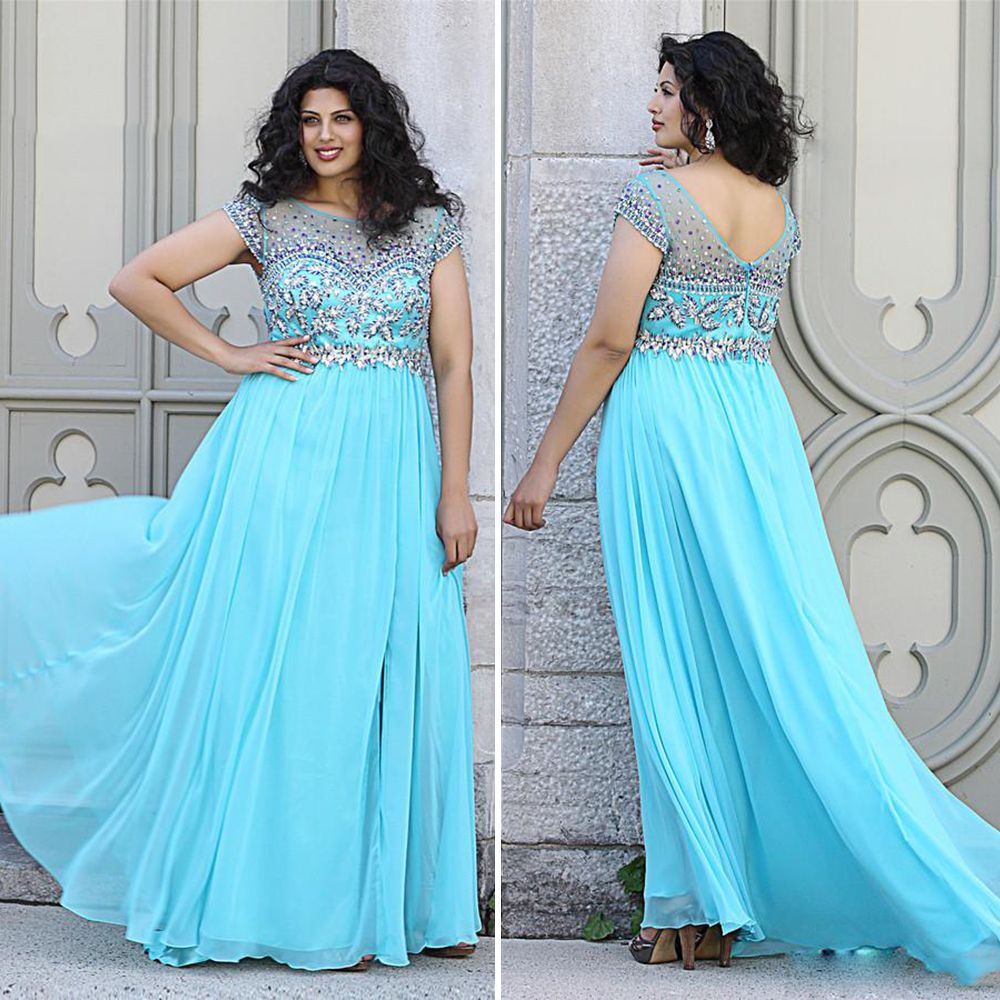 Find a Shinning Beaded Chiffon Plus Size Prom Dresses 2016 Cap ...
