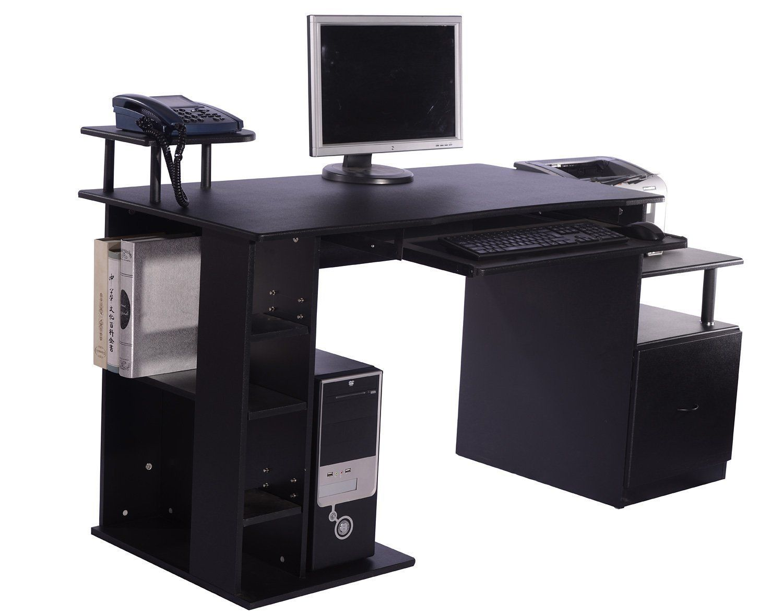 Fine Homcom Computer Desk Table Pc Desktop Laptop Wood Cabinet Download Free Architecture Designs Ferenbritishbridgeorg