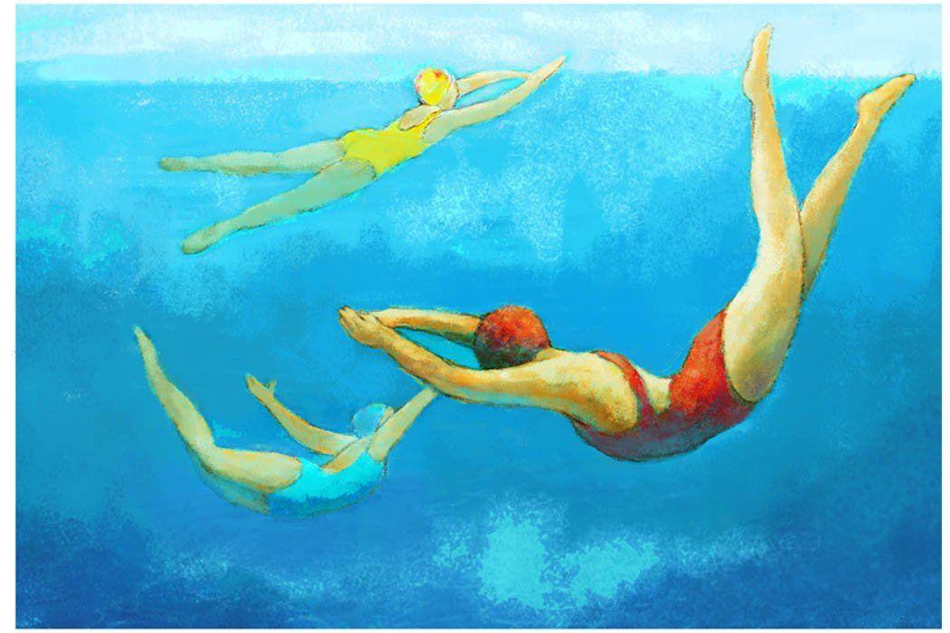 Underwater Swimmers Painting Large Wall Art Vintage Etsy Swimming Pool Art Pool Art Retro Swimmer