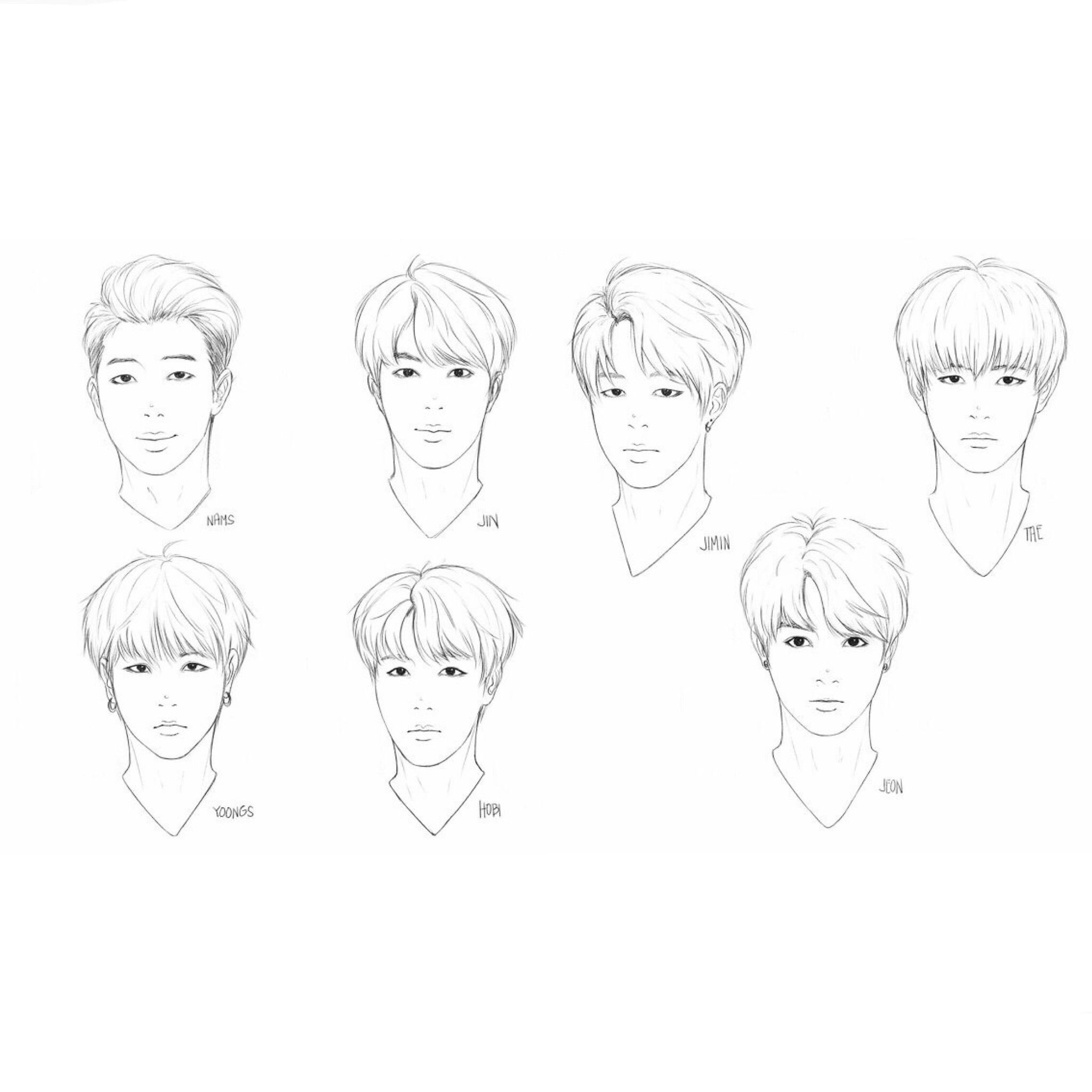 Bts Face Study Bts Drawings Art Drawings