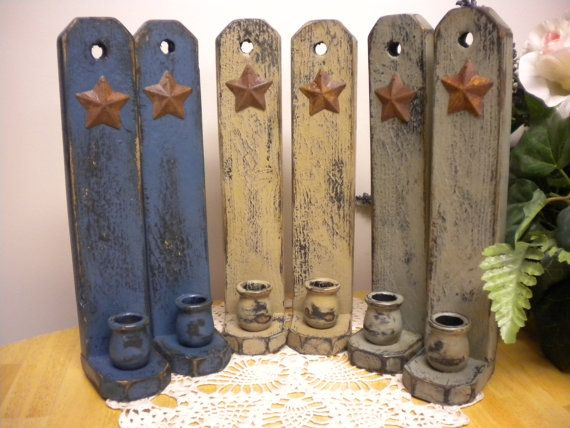 Candle Sconce With Rusty Star Made To Order Primitive