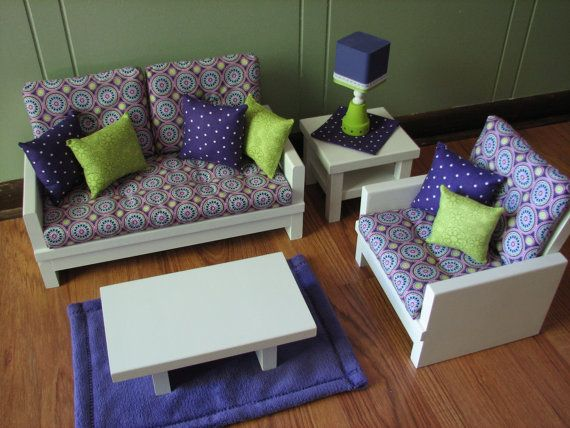 Living Room Furniture Set For American Girl Doll / 18 Inch Doll    Loveseat/Chair/Coffee End Table/Lamp/Rug   Purple/Lime Green Medallion Part 56