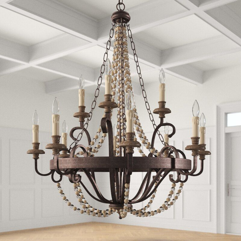 12 Light Candle Style Chandelier with Beaded Accents