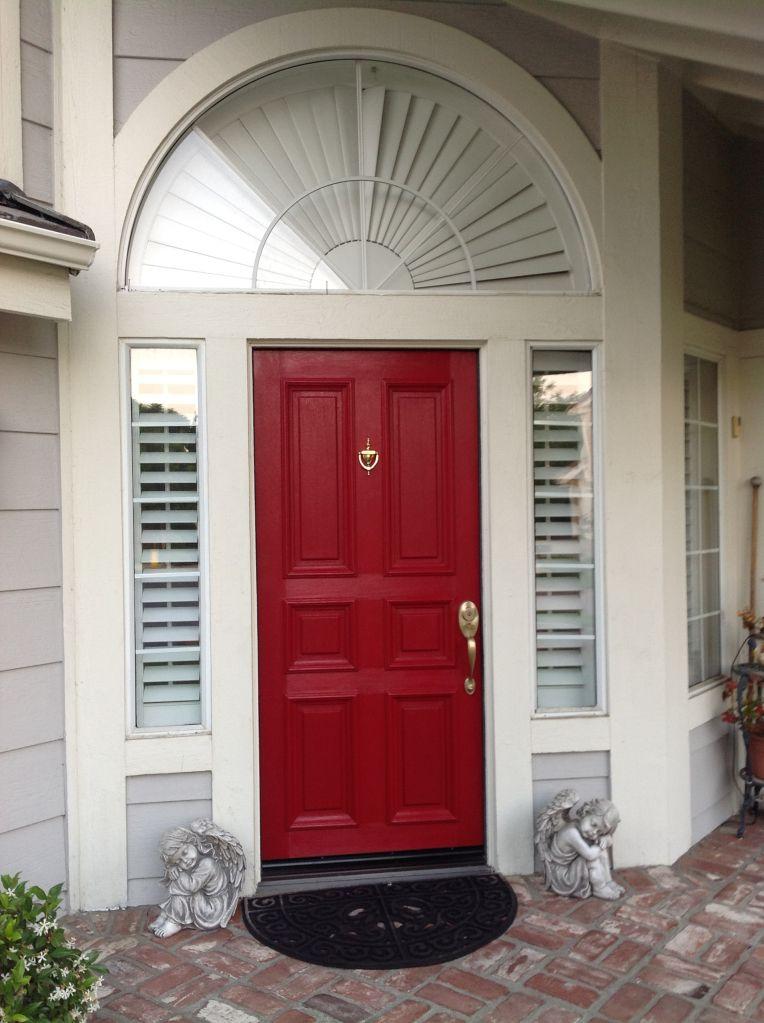 door color is front door redvalspar. front door makeover on