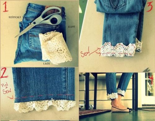 Diy jeans diy old jeans redesign projects add lace cuffs to diy jeans diy old jeans redesign projects add lace cuffs to anything solutioingenieria Images