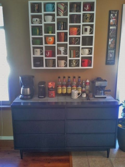 The Coffee Bar Love The Display Of Coffee Cups Instead Of Forgetting About Them In Your Cupboard And Using Only 1 Home Decor Like Home Diy Home Sweet Home