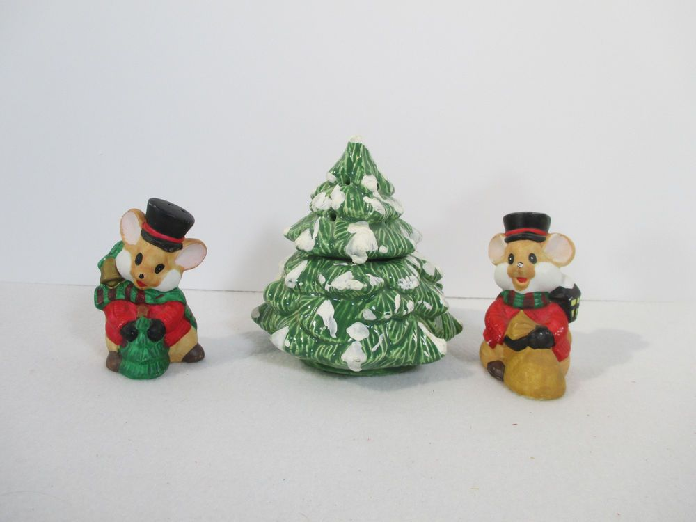 Christmas Tree Incense Burner Mouse Salt Pepper Shakers Ceramic Holiday Set of 3   Holiday set ...