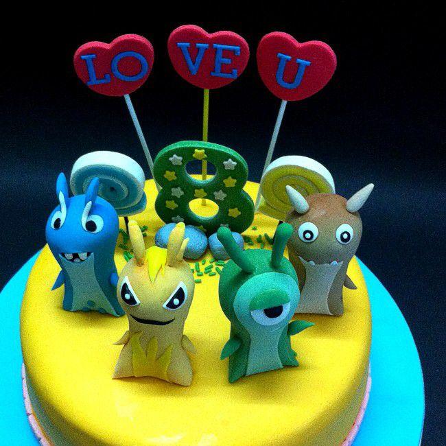 Hand Sculpted Fondant Birthday Cake Slugterra Themed Cake For Kids
