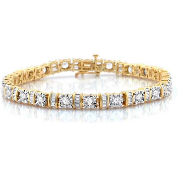 5 Ct T W White Diamond 10k Gold Tennis Bracelet 2 375 Liked On Polyvore Featuring Jewelry Bracelets Gold Jewellery Design Yellow Gold Jewelry Jewelry