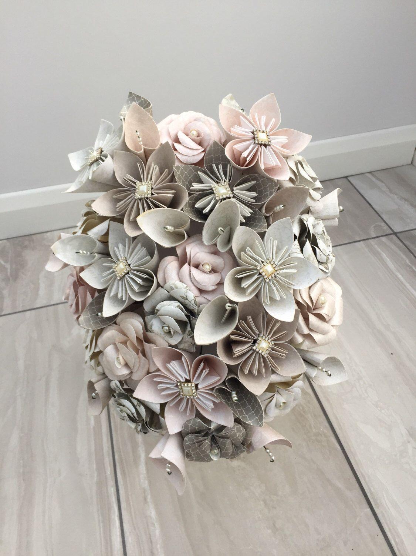 Winter flower bridal bouquet, paper flower cascade bouquet, wedding ...