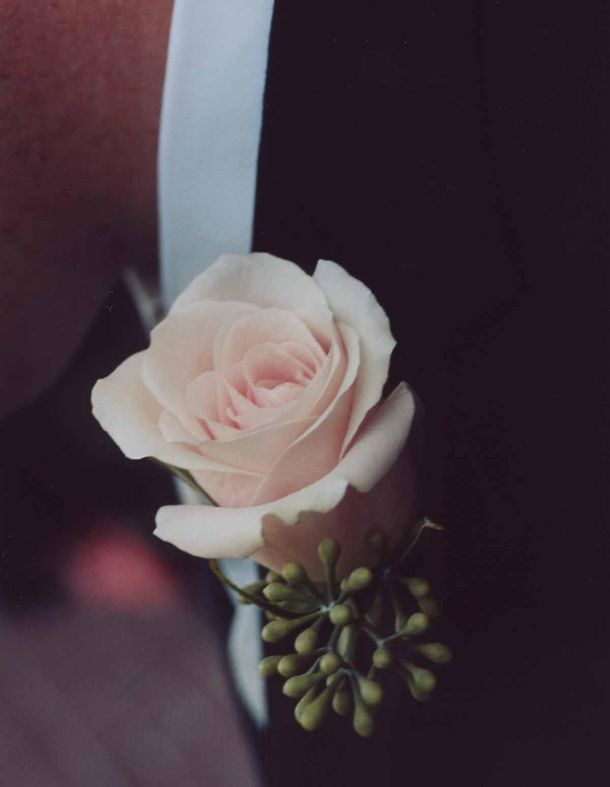 Soft Pink Rose Boutonniere With Seeded Eucalyptus Accent   Design By  Heather Murdock Of The Blue