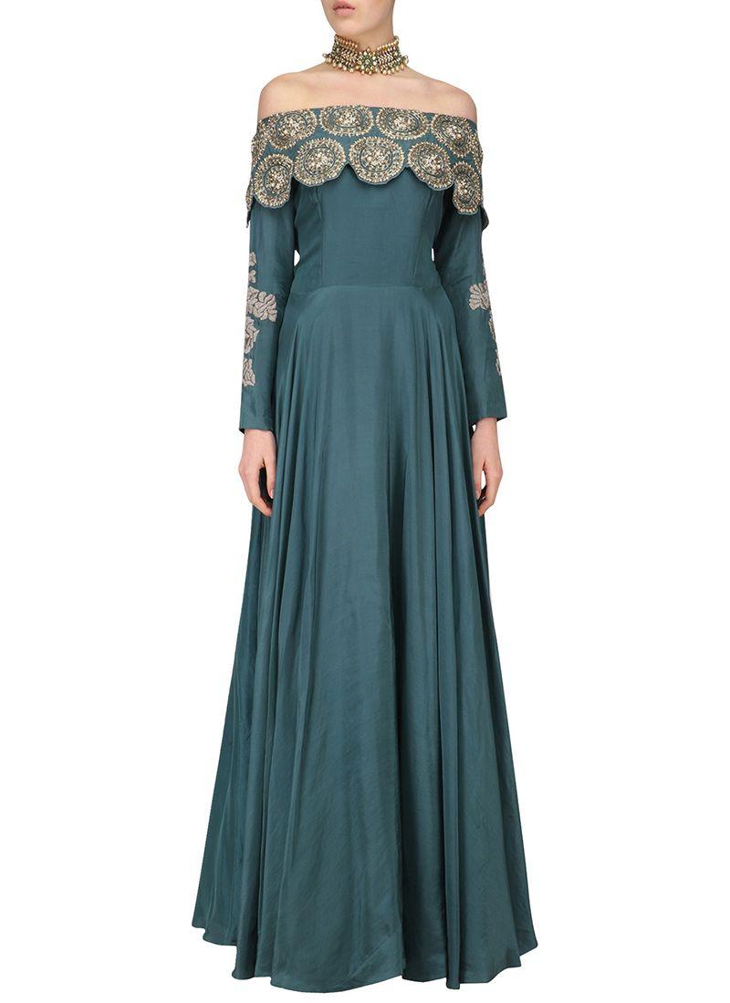 0414cdbad11 Dark Slate Blue Off Shoulder Anarkali Gown