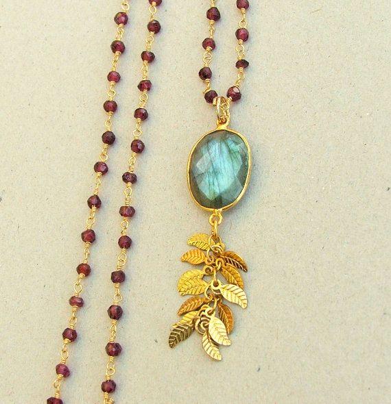 Long Garnet Necklace Earthy Neutral Pendant Necklace by ViaLove, $82.00