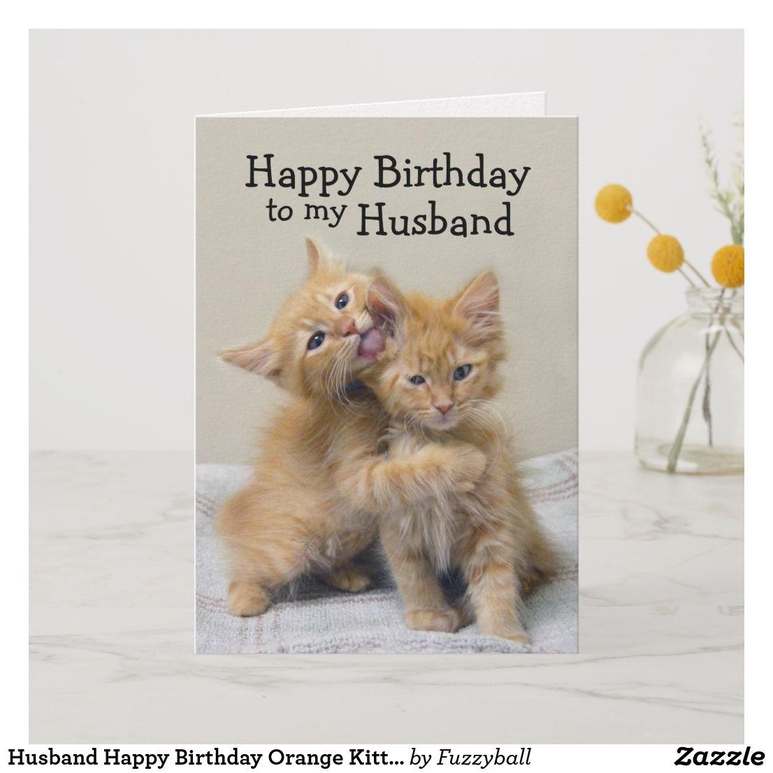 Husband Happy Birthday Orange Kittens Card Zazzle Com Orange Kittens Kittens Happy Birthday