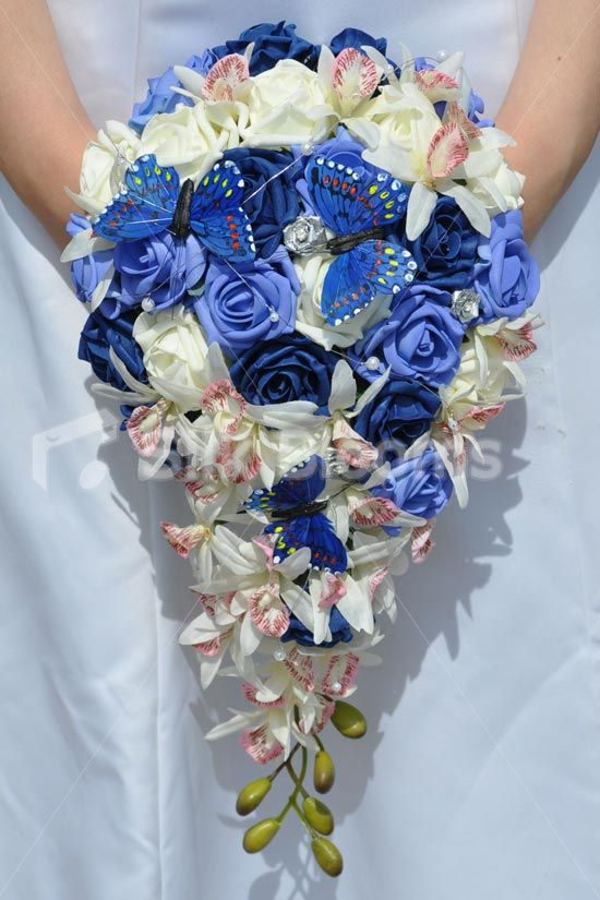 Navy Blue Sky Blue And Ivory Rose And Madagascar Orchid Cascade