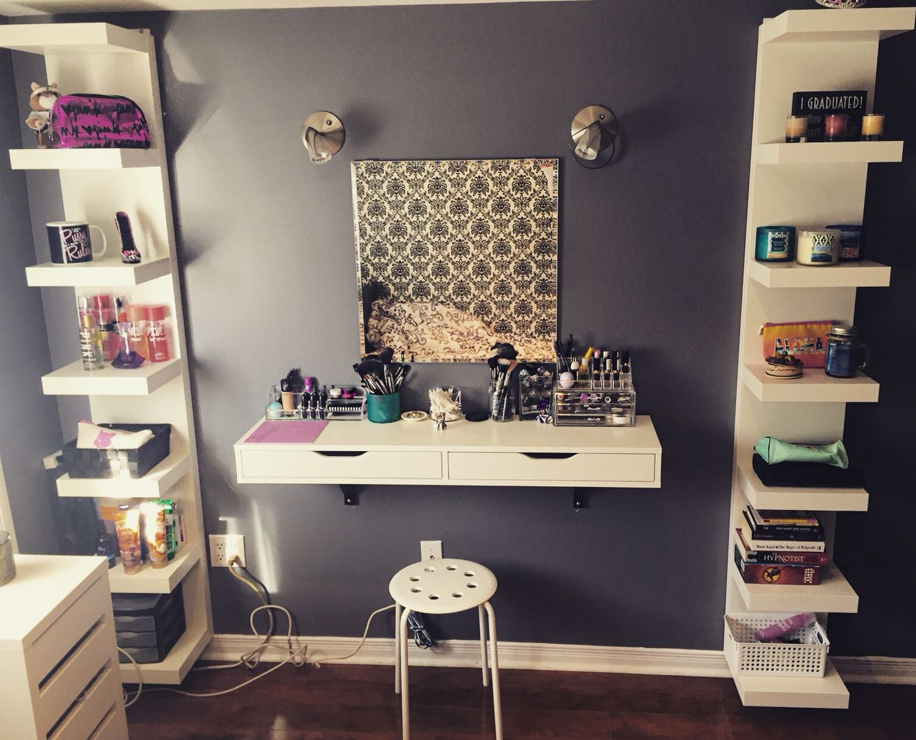 Ikea Space Saving #vanity #makeup #ekby #lack #ikea #shelf