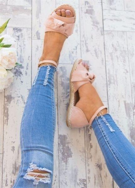 Plus Size 34-43 New Fashion Women Summer Espadrilles Flip-flop Sandals Flat Womens Sandals Bandage Sandals Bow Flower Sandals Sandalias