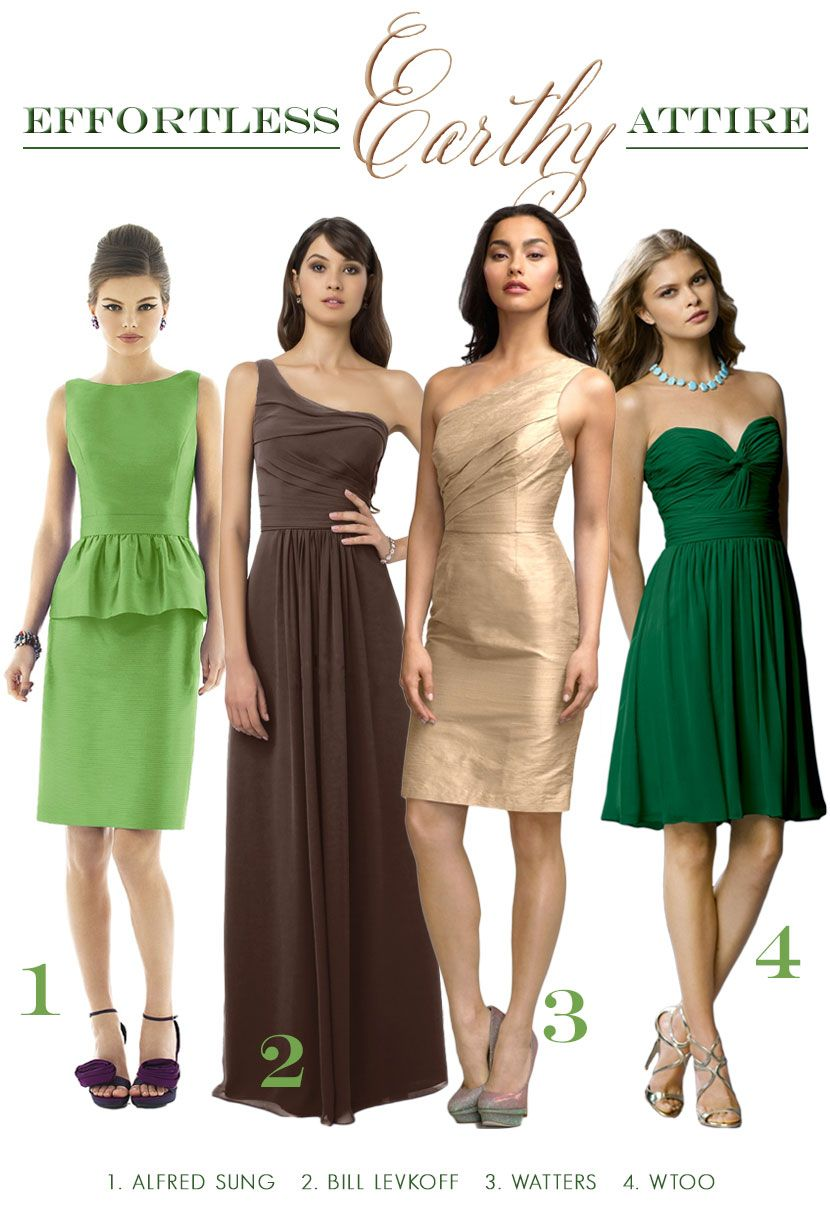 Earth day inspired bridesmaid attire in natural shades of green earth day inspired bridesmaid attire in natural shades of green brown and gold ombrellifo Images