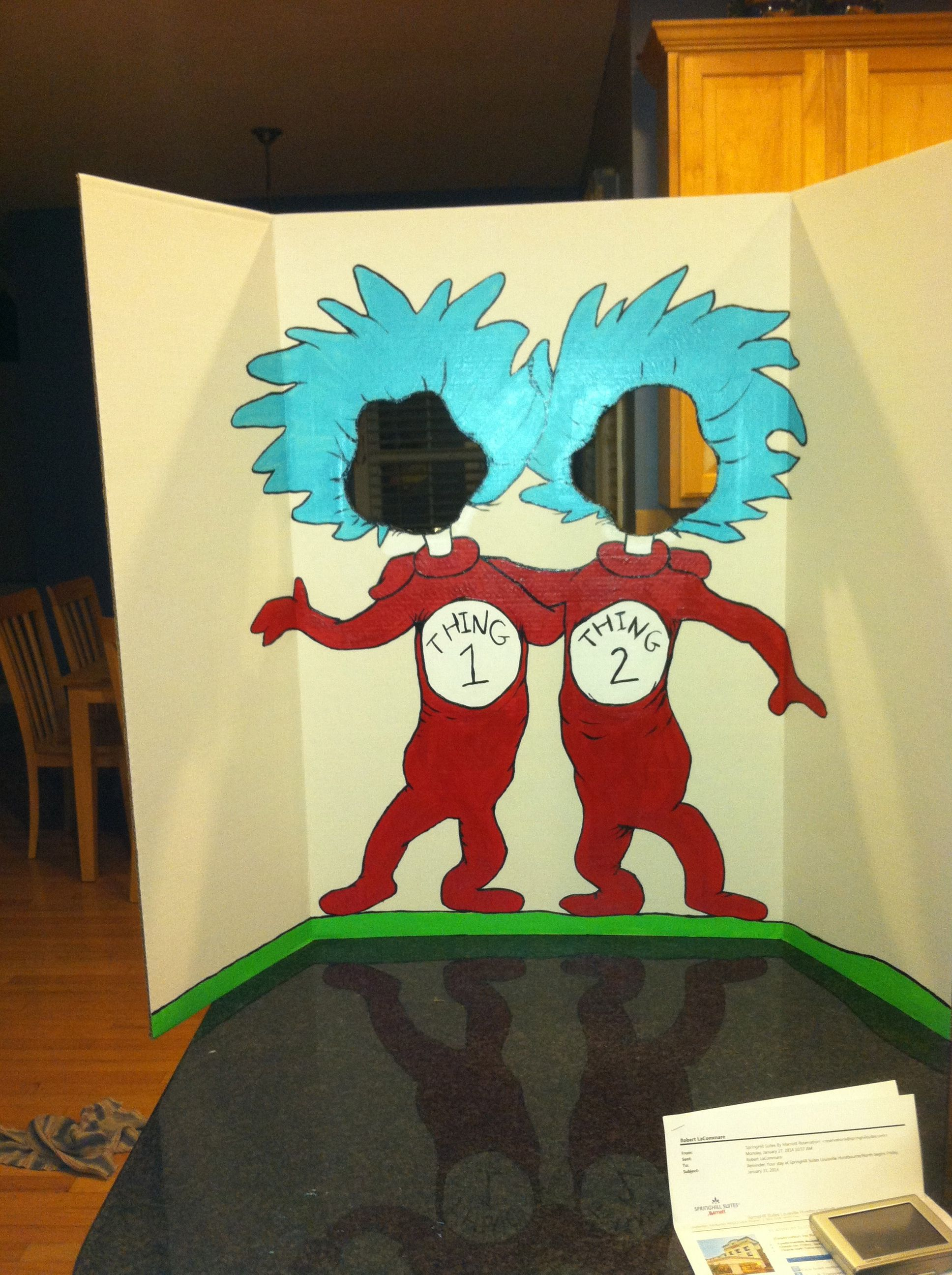 Thing 1 & Thing 2 photo board for Dr Suess themed Purim carnival