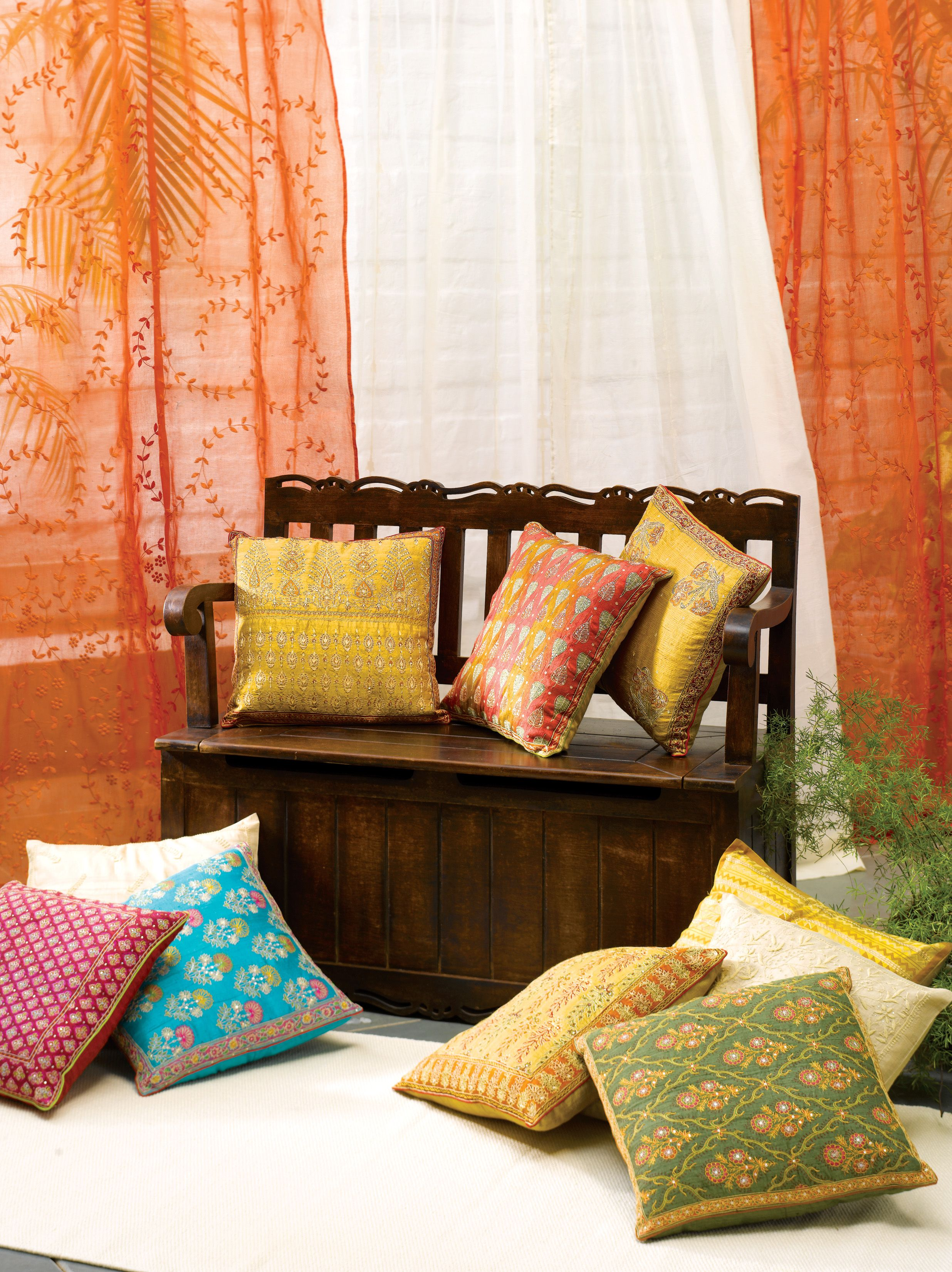 cushions embroidery prints solids cotton silk chanderi home - Home Decor Cushions
