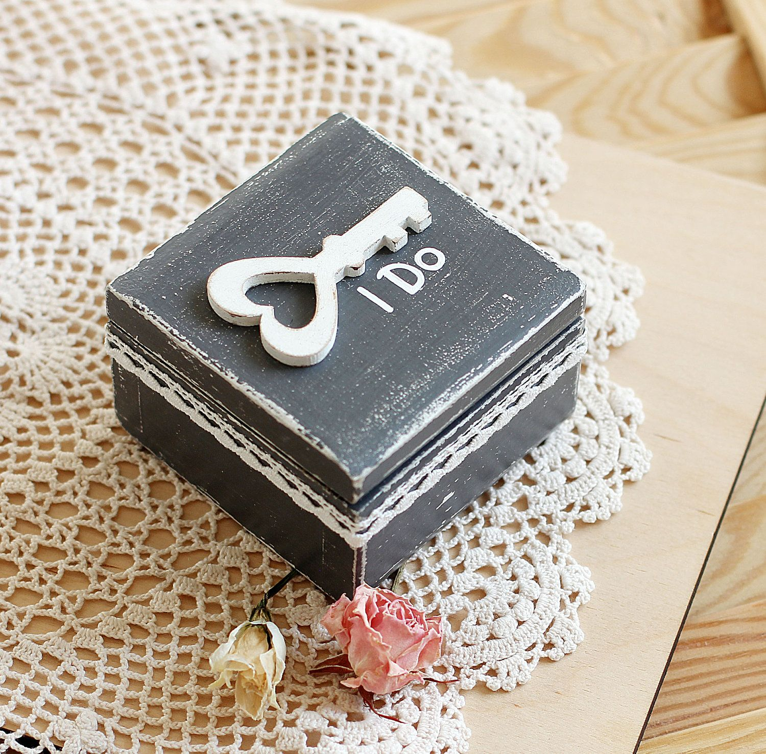 Ring Bearer Box Wedding Personalized Rustic Vintage Holder Pillow