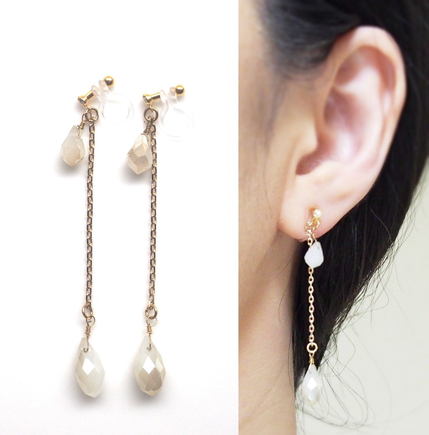 White Opal Clip On Earrings Dangle Drop Invisible Clip On
