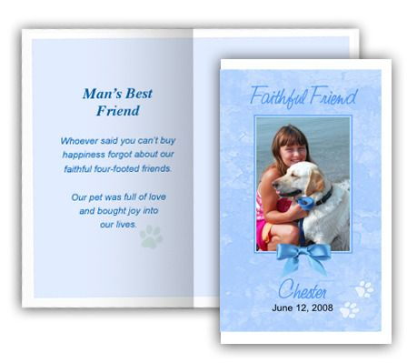 Blue Pet Memorial Folded Card Template 4 per sheet, Edit in - microsoft word greeting card template