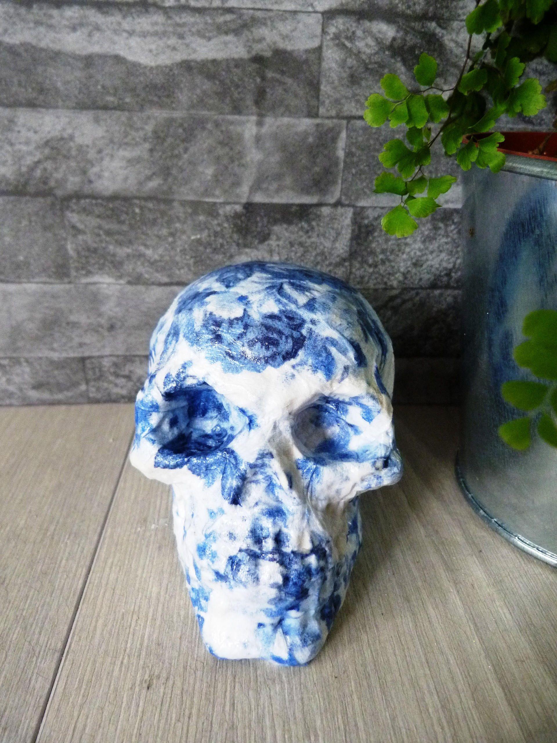 Decoupage Roses skull, blue roses, plaster, decoupaged skull