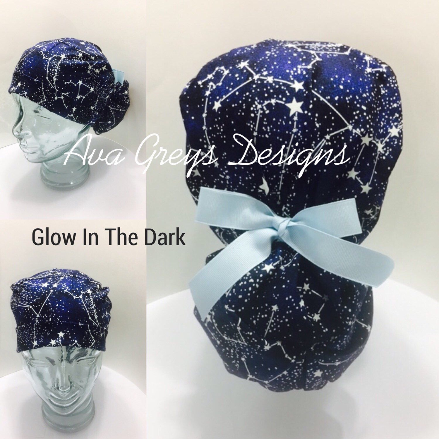8a3524eae Ponytail Scrub/Surgical Hat-GLOW in the dark-Midnight Stars-Choose ...
