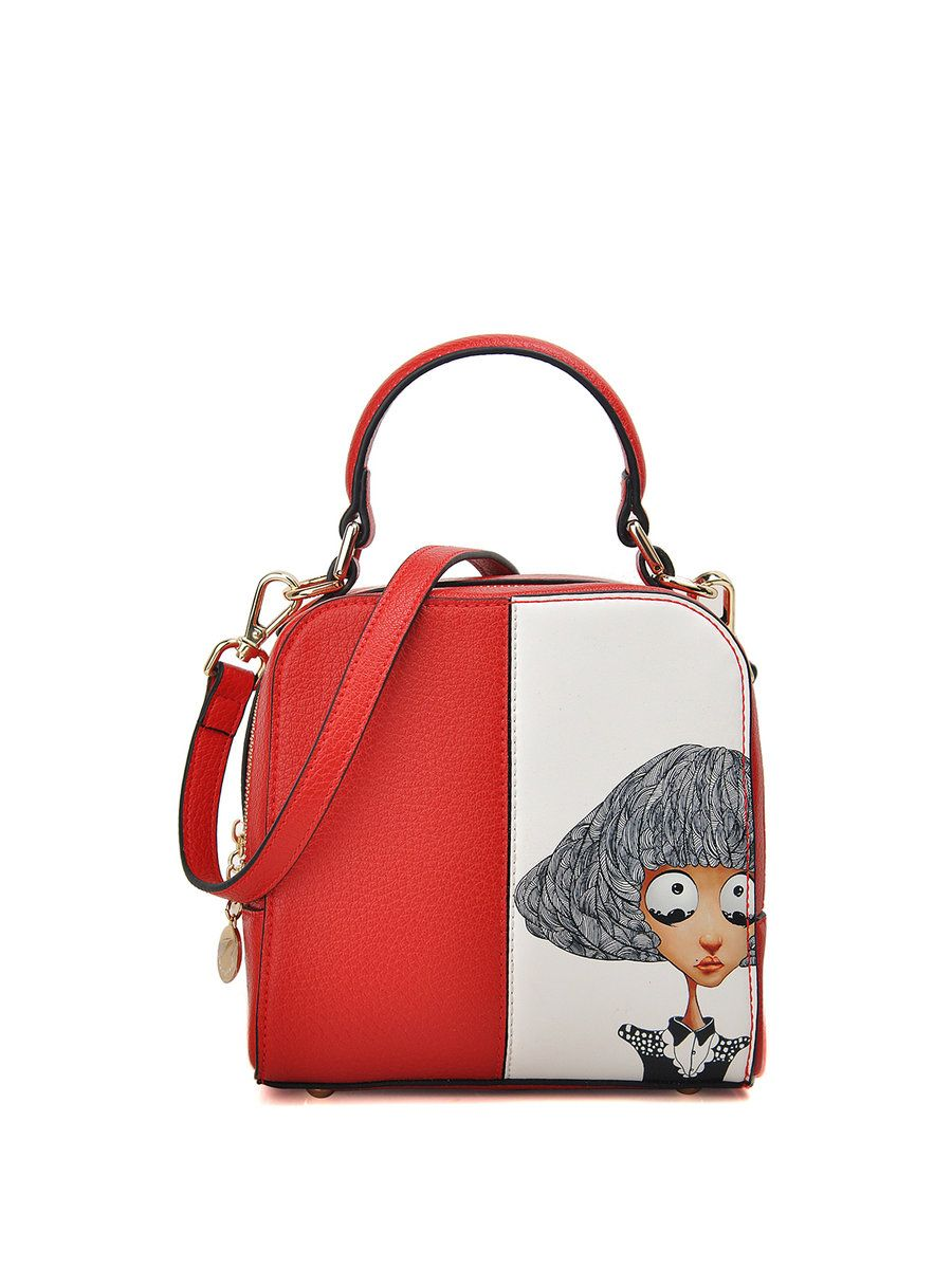 AdoreWe  StyleWe Womens - QIANBH Double Zipper Printed Color-block PU  Sweet Crossbody Bag - AdoreWe.com e6c36e67d74d6