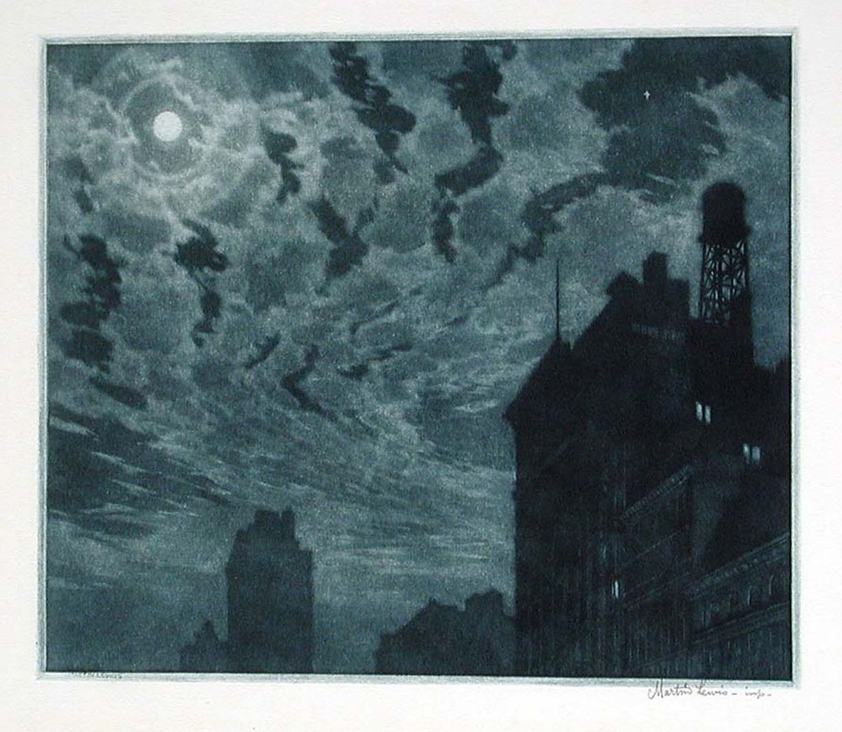 Martin Lewis, Winter Moon ...1918 mezzotint. American artist 1881-1962