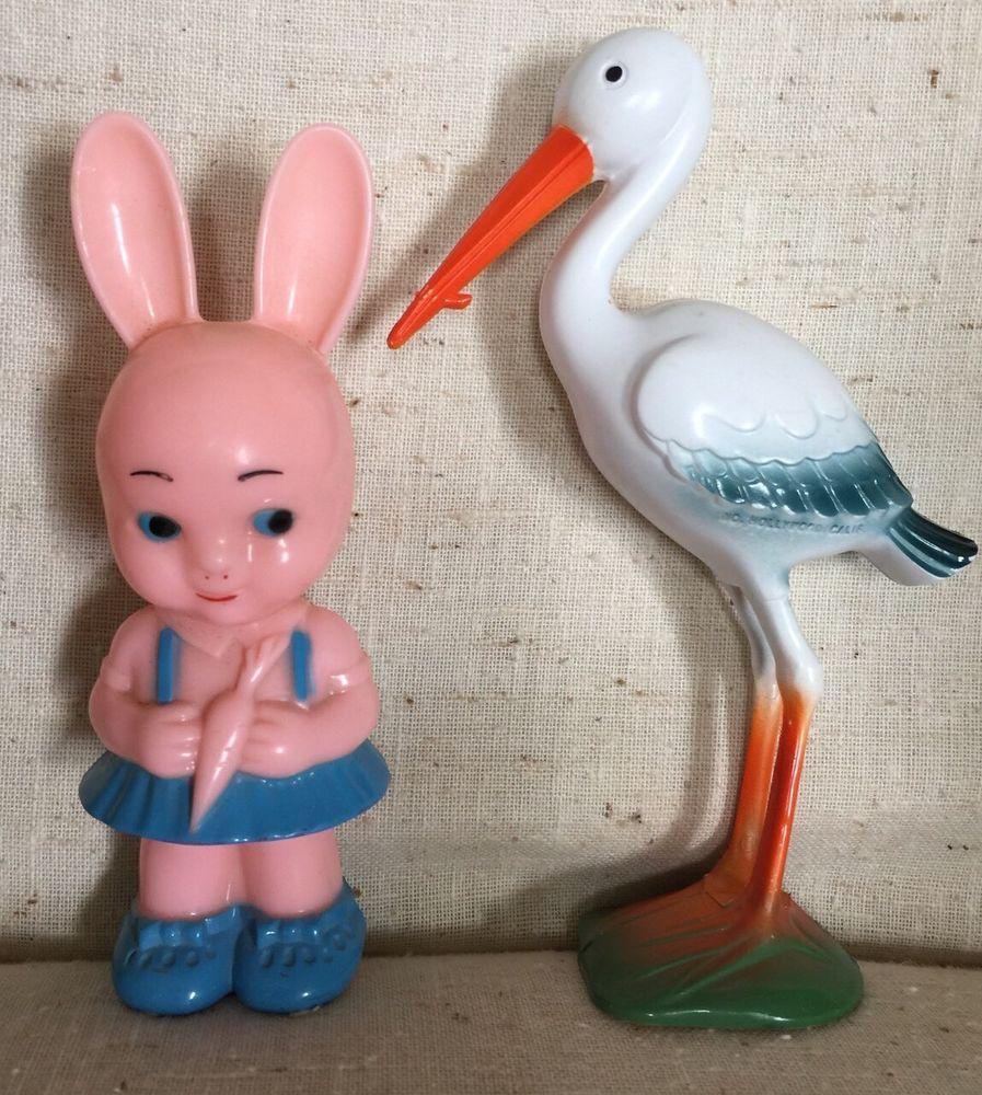 Knickerbocker Pink Girl Bunny Rattle & Stork Toy Hollywood & Glendale Calif. #Knickerbocker