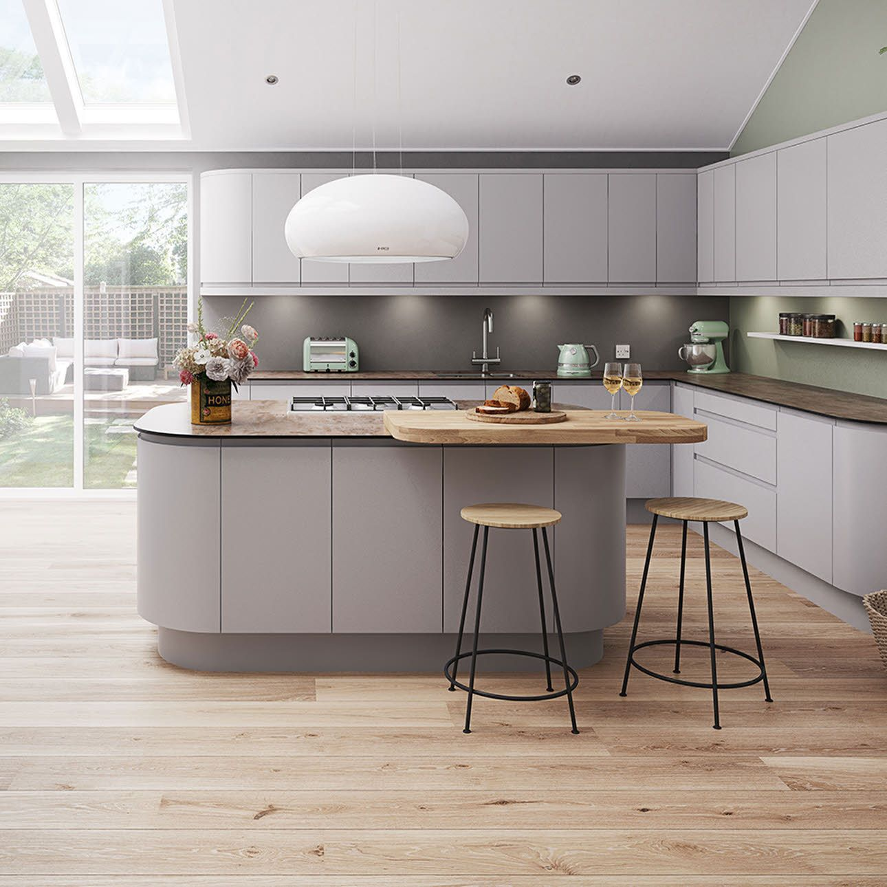 Luna matt light grey kitchen Luna Cashmere