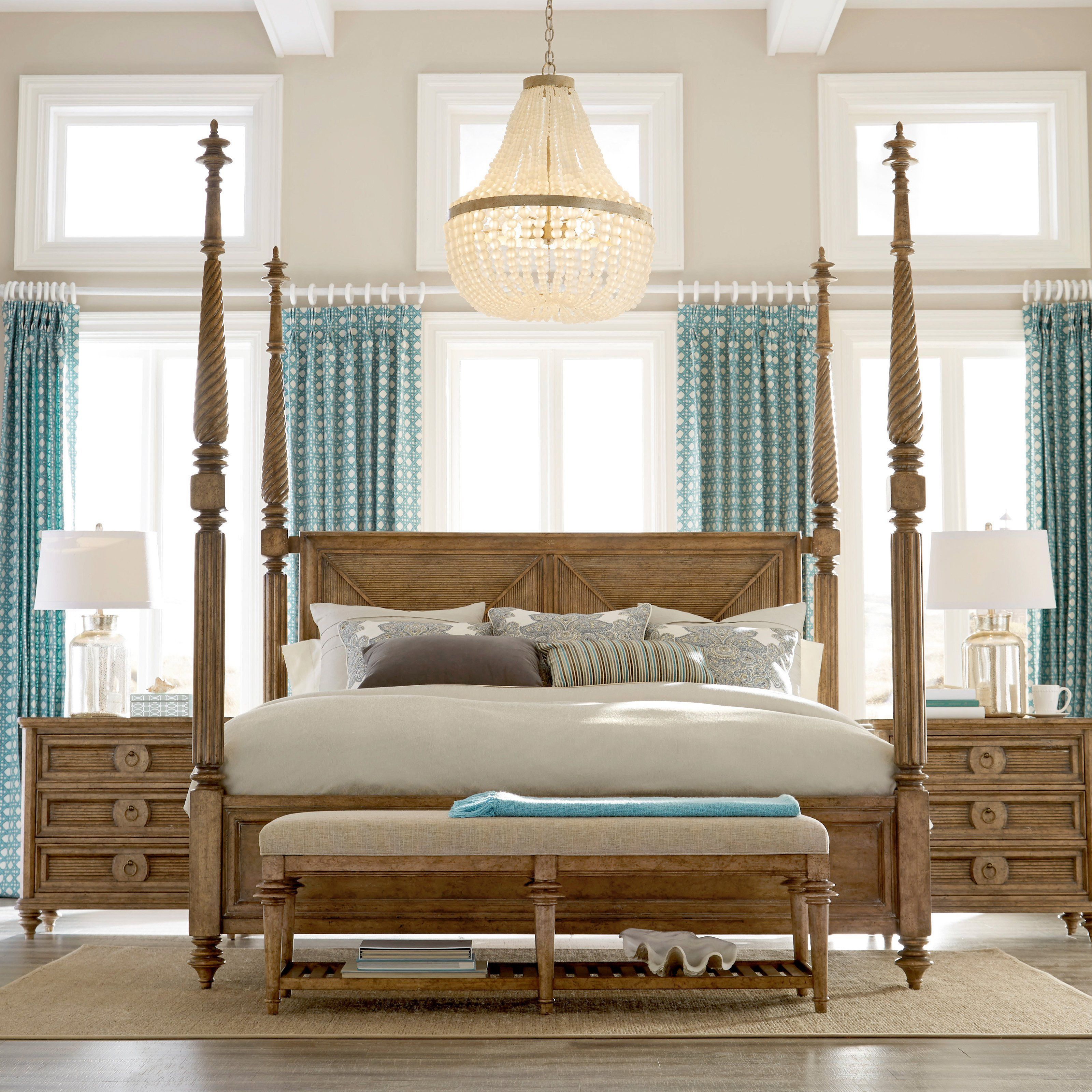 Window above bed  art furniture pavilion poster bed with high posts  k