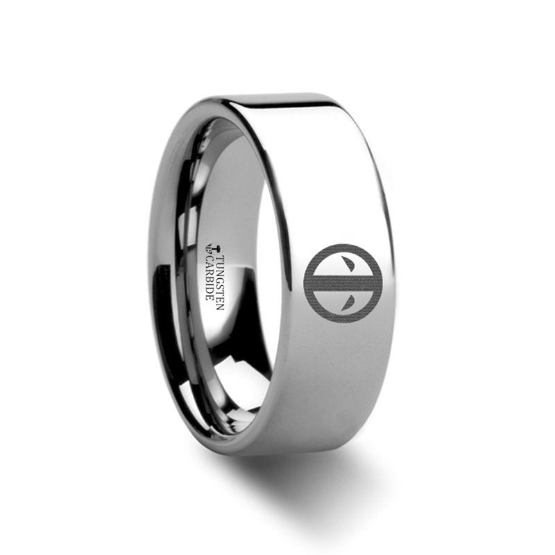 Deadpool Mercenary Symbol Super Hero Movie Tungsten Engraved Ring Jewelry 4mm 12mm Titanium Rings For Men Engraved Rings Rings For Men