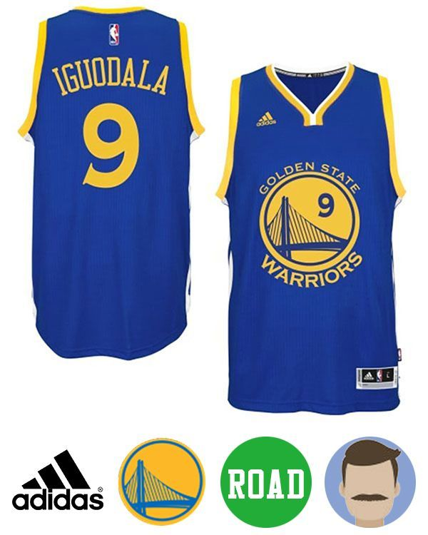 4aec179e0fd Shop for Men s Adidas Golden State Warriors  9 Andre Iguodala Blue New  Swingman Road Jersey and be ready to celebrate your team to another win in  this ...