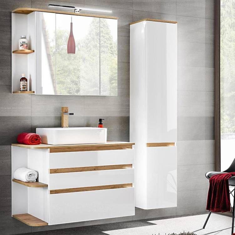 Badezimmermobel Set Mit Keramik Waschtisch Campos 56 Hochglanz