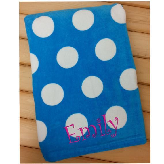 Polka Dot Beach Towel With Monogram Beach Towel For Kids Or