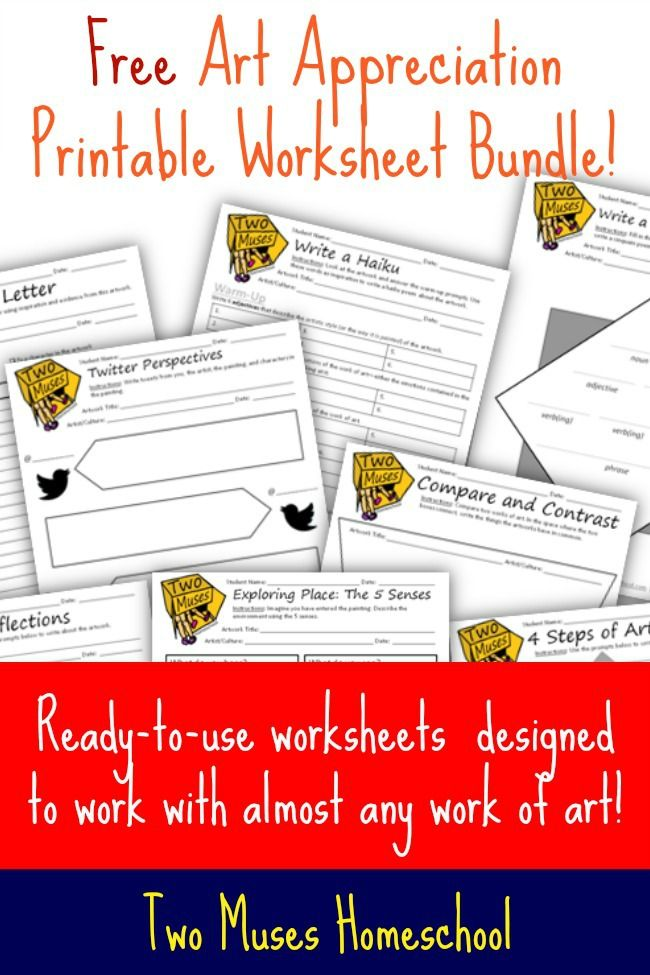 Free art appreciation worksheets for all ages to use with any work – Free Printable Art Worksheets