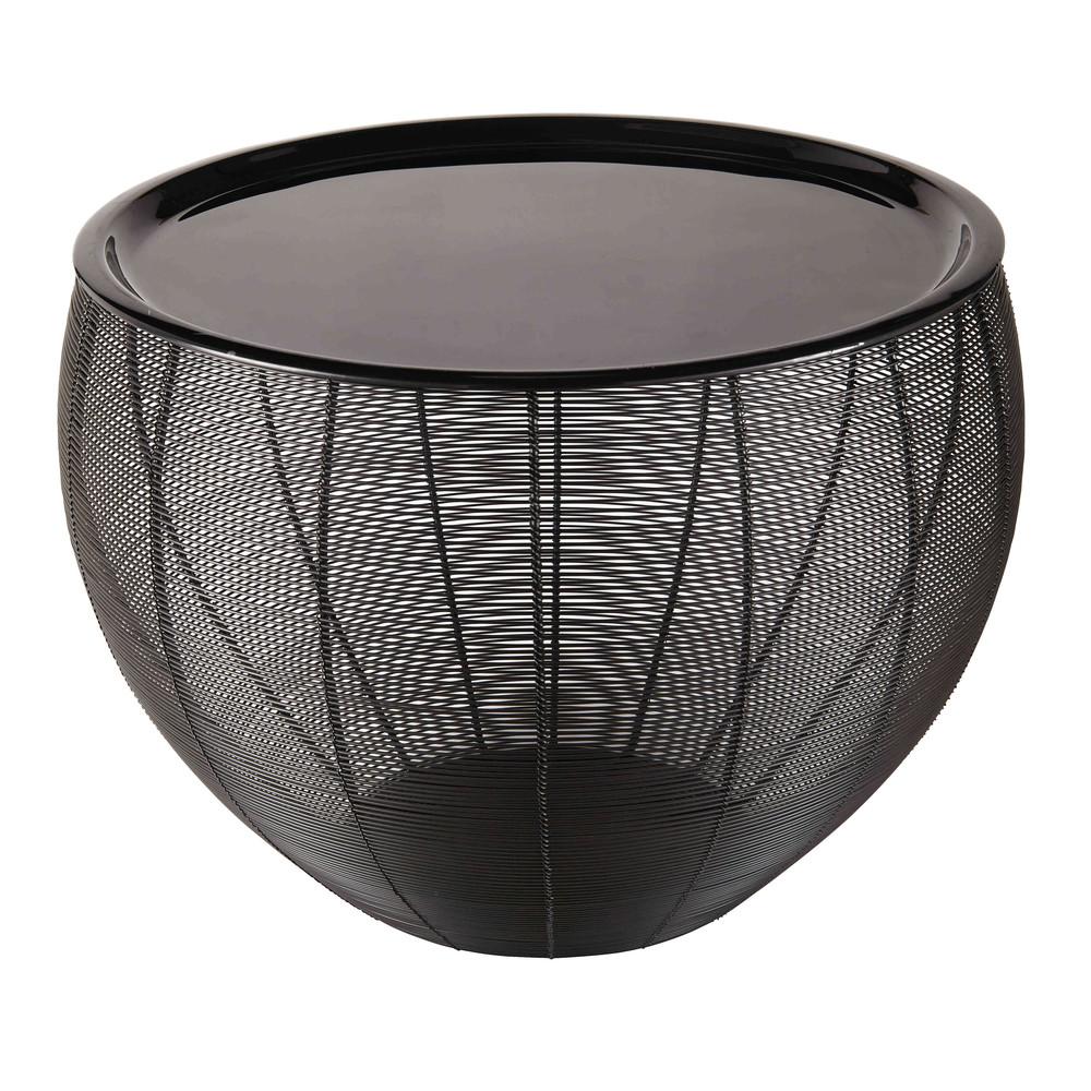 Bout De Canapé En Métal Laqué Noir Idées Maison Round