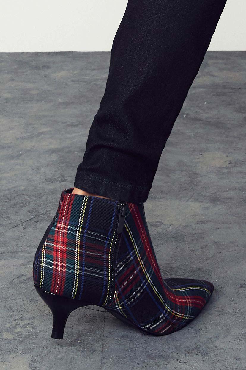 49ad8c151a1 Womens Next Tartan Kitten Heel Ankle Boots - Blue