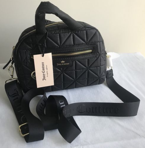 5c5ad4b642 NWT Juicy Couture Crown Jewel MINI Quilted Black Crossbody Bag ...