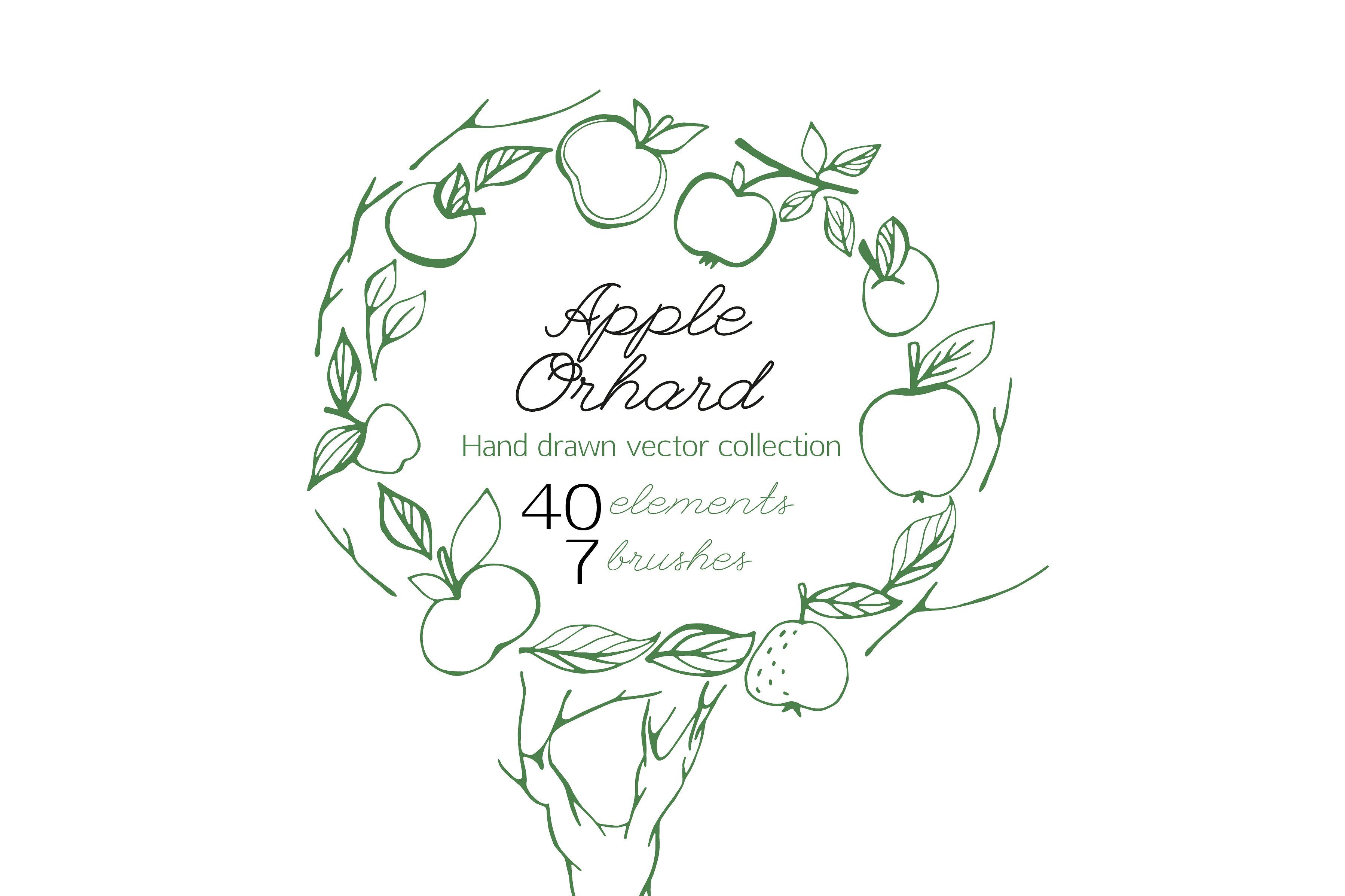 Apple Orchard vector collection Lettering fonts