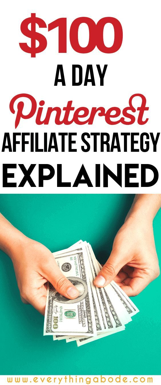 $100 Dollar a Day Pinterest Affiliate Marketing Strategy Explained.  Would you like to make a passive income using Pinterest? In this Pinterest tutorial, I will show you how you can have the potential to make $100 per day online, without having your own products through Pinterest marketing and affiliate marketing via @everythingabode #affiliatemarketing #affiliatesales #pinterestmarketing #pinterestmarketingtips