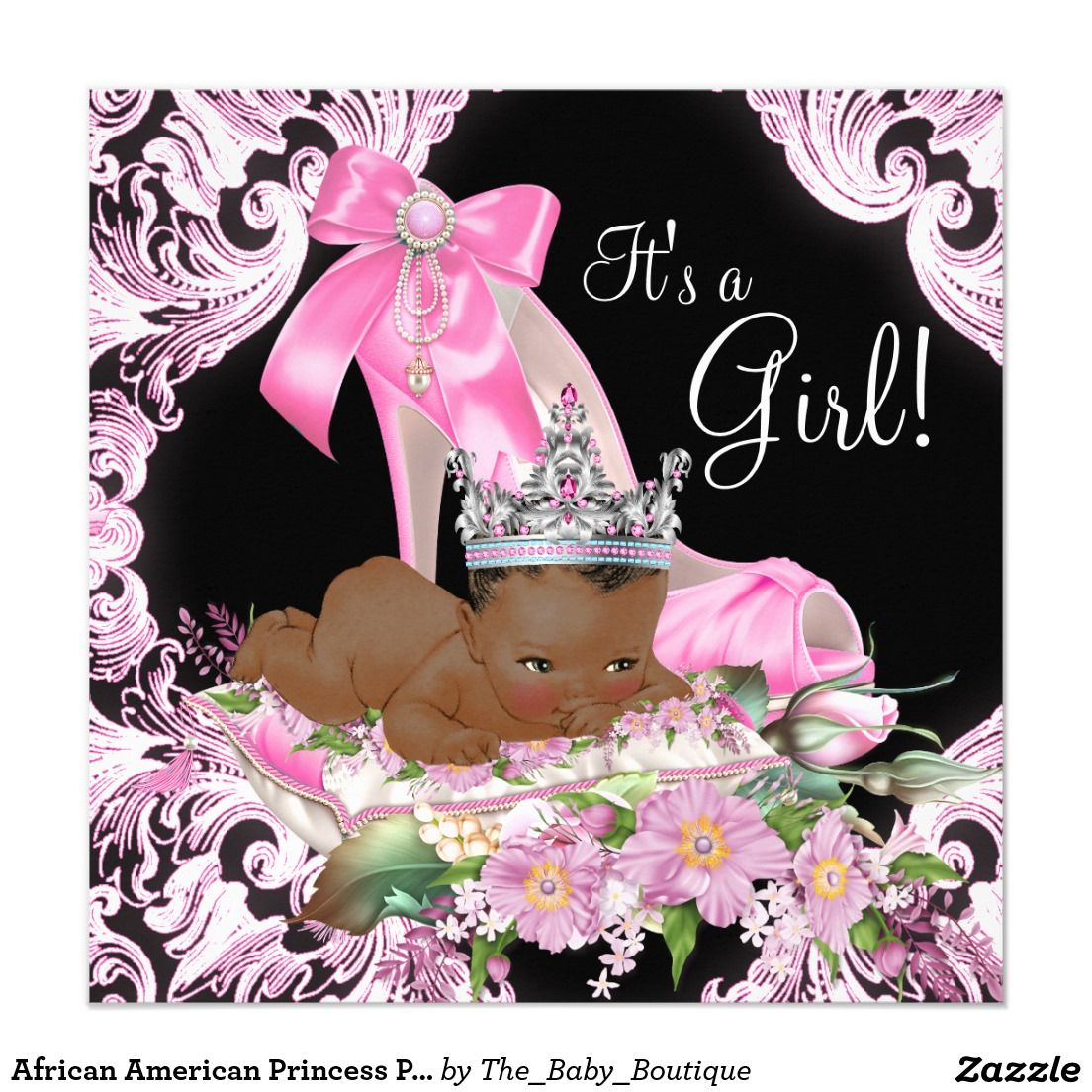 African American Princess Pink Black Baby Shower 5 25x5 25 Square Paper Invitation Card